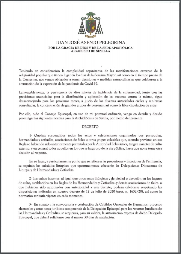 decreto suspension procesiones